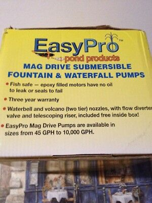 EasyPro EP120 Submersible Mag Drive Pond Pump, Max Flow 120 Gallons-Per-Hour