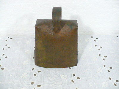 """Antique Cow Bell with a wonderful ring & cast iron striker 4"""" tall (cows coming)"""