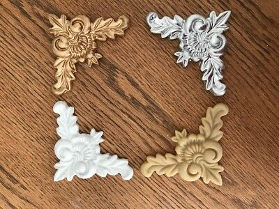 Set Of 4 Shabby Chic Corner Resin furniture Mouldings Onlays - White/Gold/Silver