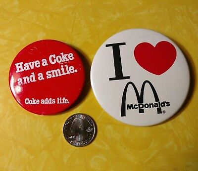 Vintage HAVE A COKE AND A SMILE - I HEART MCDONALD'S pins Pinback buttons