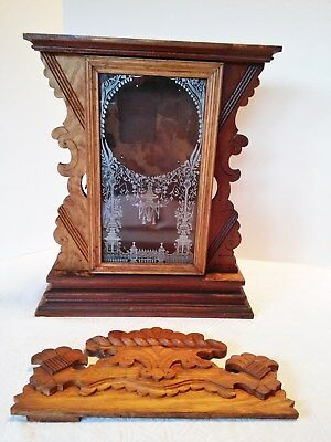 Antique Oak Wood Clock Box with Glass White Orient Door Gingerbread for Parts