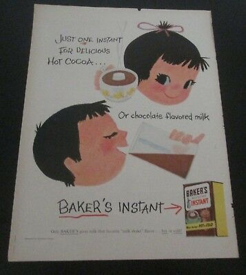 1956 original ad Baker's Instant  Cocoa Mix cute Boy and Girl