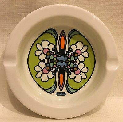 """Vintage 60s Mid Century Peter Max BUTTERFLY Flower Power Ashtray 6"""" Hippie"""