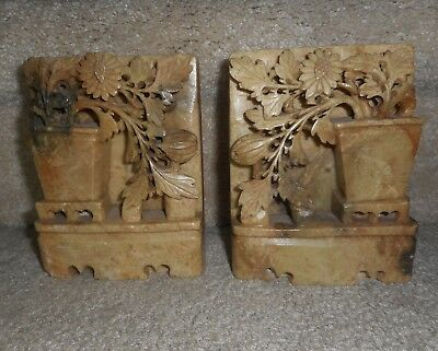 """Pair Chinese Carved Soapstone Marble Book Ends, 5.25"""" H X 4""""w X 1/5"""" D"""