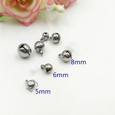50Pcs Christmas Jingle Bell Charms Stainless Steel Pendants Jewelry DIY 5/6/8mm