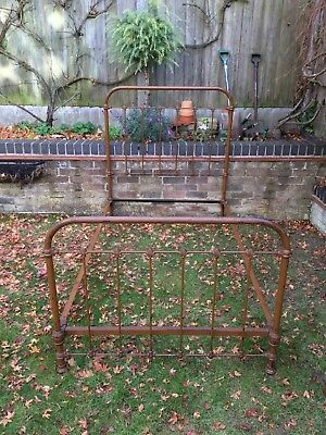 Antique Victorian single Iron Bed Frame Old Vintage reclaimed Architectural