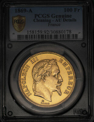 France 1869-A 100 Francs Gold - Pcgs Au-Genuine