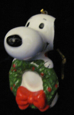 Vintage 1958 Snoopy Christmas Ornament - Snoopy holding a Wreath