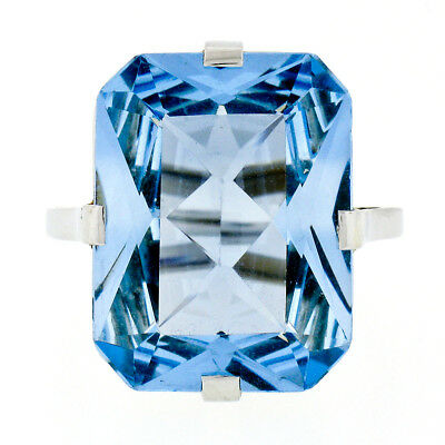 Handmade Antique Art Deco 18k White Gold Large Faceted Blue Topaz Solitaire Ring