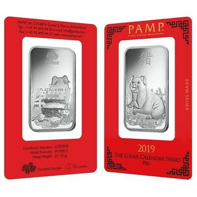 1 oz PAMP Suisse Year of the Pig Platinum Bar (In Assay) Serial #888