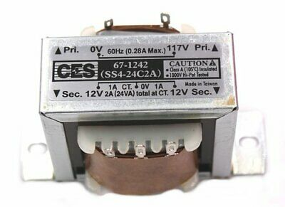 Power Transformer, 117VAC -> 24VAC Center Tap (12_0_12), 2A