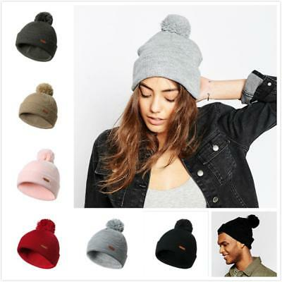 7693365185d0a Autumn Winter Mens Womens Unisex Cuffed Beanie Cap Thick Knitted Pompom Hat  US