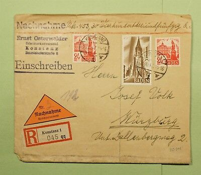 DR WHO 1947 GERMANY KONSTANZ REGISTERED COD TO WURZBURG  d61352