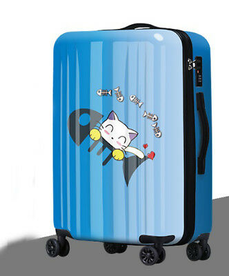 D749 Lock Universal Wheel Blue Cat Travel Suitcase Cabin Luggage 20 Inches W