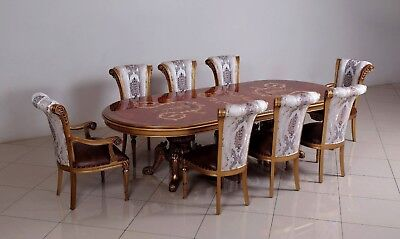9pc Luxury Antique Dining Set Upholstery Living Room Furniture Chair Table