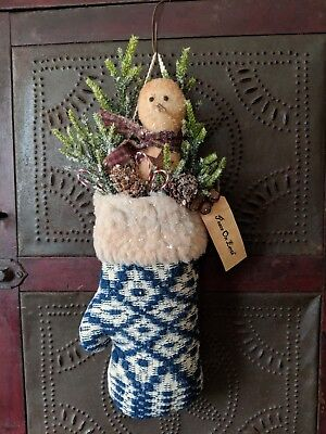 Early Style Christmas Snowman Mitten in Antique 19th Century Coverlet Fragment