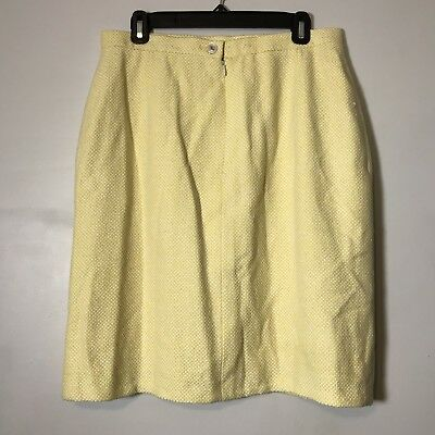 Chanel Tweed Yellow And White Medley CC Button Skirt Made In France Size 44