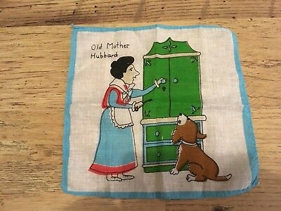 Vintage Child's Nursery Rhyme Handkerchief , Old Mother Hubbard