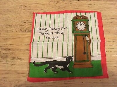 Vintage Child's Nursery Rhyme Handkerchief , Hickory Dickory Dock