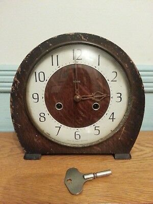 Smiths Art Deco Antique Wooden Case Chime Mantel Clock with Key Vintage