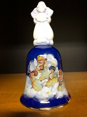 Avon Vintage 1992 Porcelain Christmas Holiday Bell Angels Blue