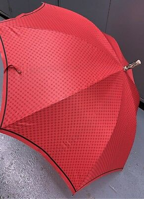 Gucci Vintage Umbrella Red / Black with Monogram Made in Italy with Tags