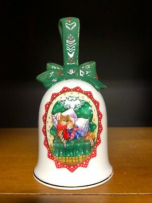 Avon Vintage 1990 Porcelain Christmas Holiday Bell Mice Green Bow