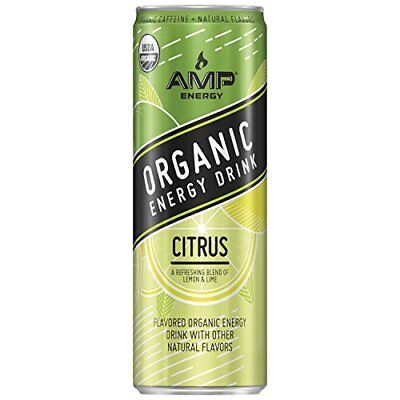 AMP Energy, Organic Energy Drink, Citrus, 12 oz Cans (12 Pack) Exp. 12/3/18