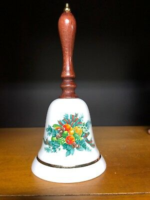 Avon Vintage 1985 Porcelain Christmas Holiday Bell Wood Handle Wreath Fruit