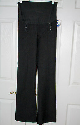 NWT Valia Black Maternity Dress Pants with Button Accents Full Panel Medium