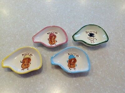 NUTS Dish Vintage Decora Ceramics Hand Painted California Pottery 2712 LOT OF 4