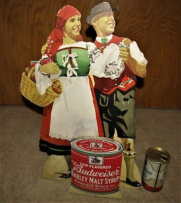 BUDWEISER BARLEY MALT SYRUP 3-D PROHIBITION era store sign with couple