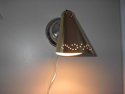 MCM Vintage Bright Brass Perforated Cone Plug-In Portable Wall Sconce Light