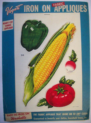 1950's Vogart Iron on fabric appliques Vegetables corn radish pepper tomato