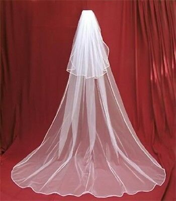 New White Ivory Tulle 3 Meter Wedding Veil Two Layer Long Bridal Veils With Comb