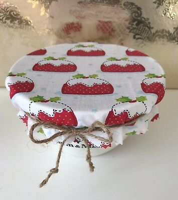 1 Christmas Pudding Fabric Bowl Cover With Jute Tie And Band.