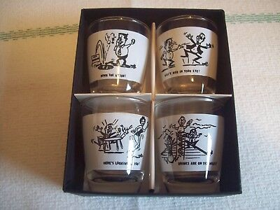 Set of 4 Anchor Hocking shot glasses, circa 1960. new in box
