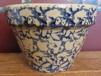 "RRP Robinson Ransbottom Pottery 6"" Mixing Bowl Blue Spongeware Roseville Ohio"