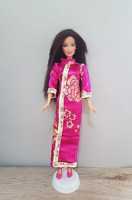 New Barbie doll clothes outfit princess wedding gown hot pink cheongsam  shoes