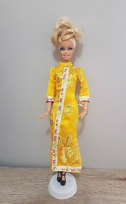 New Barbie doll clothes outfit princess wedding gown yellow cheongsam and shoes