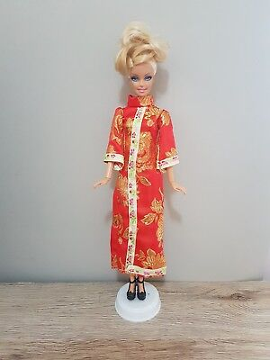 New Barbie doll clothes outfit princess wedding gown red cheongsam and shoes