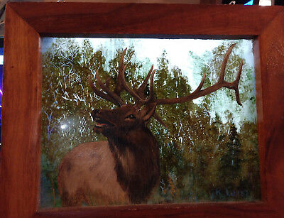 """Framed 11x9"""" oil painting on glass Deer in the forest big antlers K. Lane"""