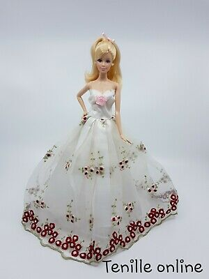New Barbie doll clothes outfit princess wedding gown pink silver star and veil