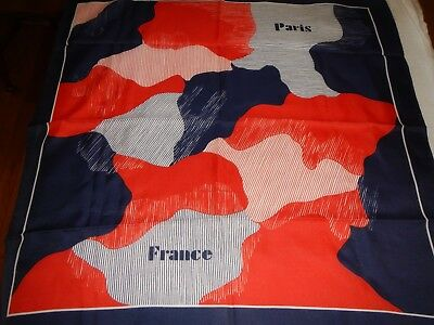 """Vintage Red White & Blue Paris France Scarf Made In Italy 27"""" square"""