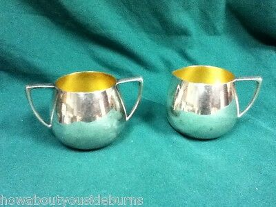 Silver silverplated cream and sugar set dining tableware by Empire crafts #195