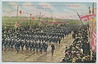 1908 American Fleet  Postcard March To Melbourne Victoria Usa Publisher  T20