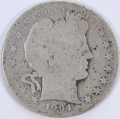 1904-S Barber Half Dollar 50C 90% Raw US Silver Semi-Key Date
