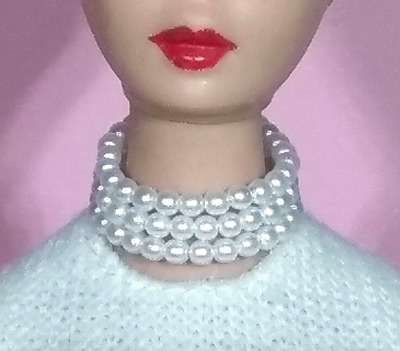 Dreamz WHITE TRIPLE PEARL NECKLACE Mood For Music VINTAGE REPRO for Barbie Doll