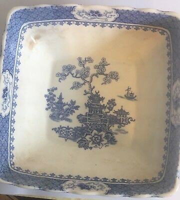 Pagoda Pattern Meakin  Square Dish Or Plate In Blue And White 10 Inch Wide