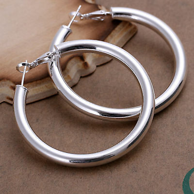 Fashion 925 Sterling Silver Large Round Hollow Circle Men Woman Earrings Hoop